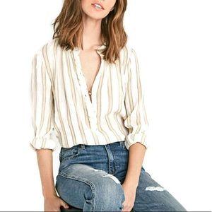 Lucky Brand Cotton Stripe Blouse Q0359